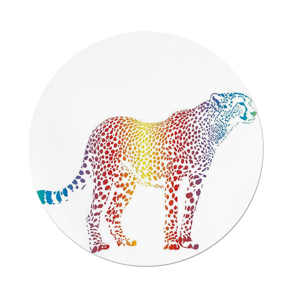 iPrint Polyester Round Tablecloth,Rainbow,Cheetah Rainbow Colored Smokescreen Camouflage Realsitic Animal Safari Wildlife,Multicolor,Dining Room Kitchen Picnic Table Cloth Cover,for Outdoor Indoor