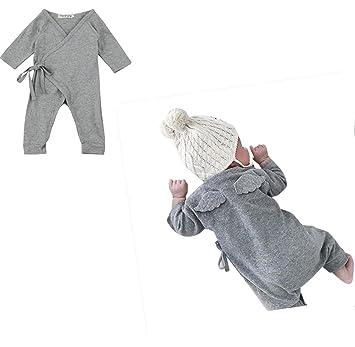 6c0aa3c11d5d4 灰色 翼 カバーオール ベビー服 女の子 赤ちゃん服 幼児 子供服 男の子 長袖 丸首 4サイズ キッズ
