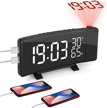 Réveil Projection avec Double Alarmes, Plafond Radio Reveil Projecteur 180° Horloge Numérique Gros Chiffres, Commutation 3 Couleurs, Fonction Snooze,