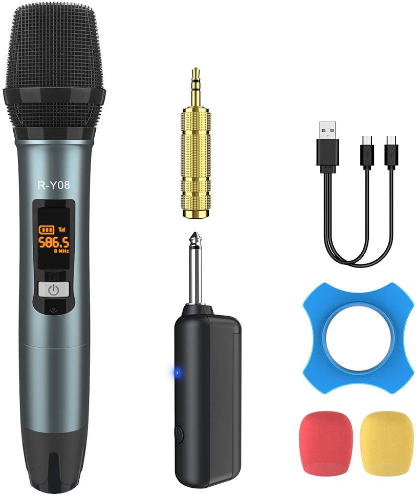 Wireless Microphone UHF Rechargeable(Work 13-18hs) Cardioid Dynamic Mic Handheld Wireless mic System for Karaoke, Singing, Stage, Interview, Church, PA Speaker, Amplifier, Mixer, Camera, Laptop, 164ft