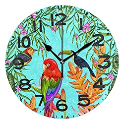 Naanle Beautiful Exotic Tropical Birds Flowers Print Round Wall Clock Decorative, 9.5 Inch Battery Operated Quartz Analog Quiet Desk Clock for Home,Office,School