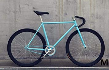 cuzona Bicicleta Bicicleta de Engranaje Fijo 46cm 52cm 56cm DIY Bicicleta de Carretera de Velocidad única Pista Fixie Bicicleta Fixie Bike-Blue_52cm (175cm-180cm): Amazon.es: Deportes y aire libre