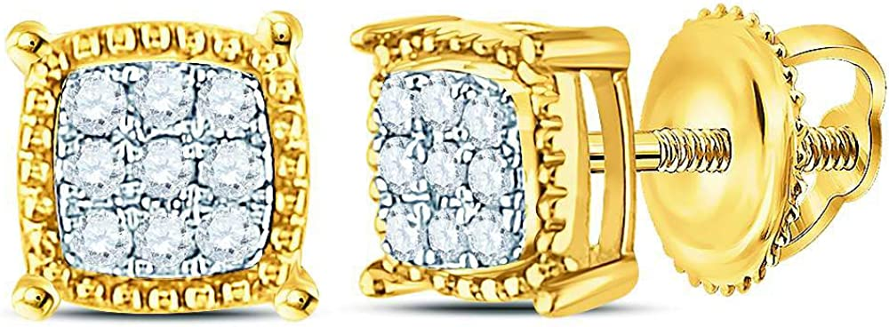 Jewel Tie Solid 10k Yellow Gold Mens Round Diamond Square Milgrain Earrings Studs 1//10 Cttw