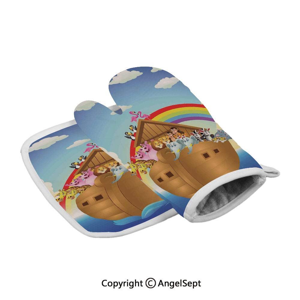 Cute Animals in Noahs Ark Sailing in Sea Ship Old Story Setting Sun Rainbows,Professional Polyster Insulated Grilling Gloves,Multicolor,Best Protective Insulated Kitchen-Food Safe