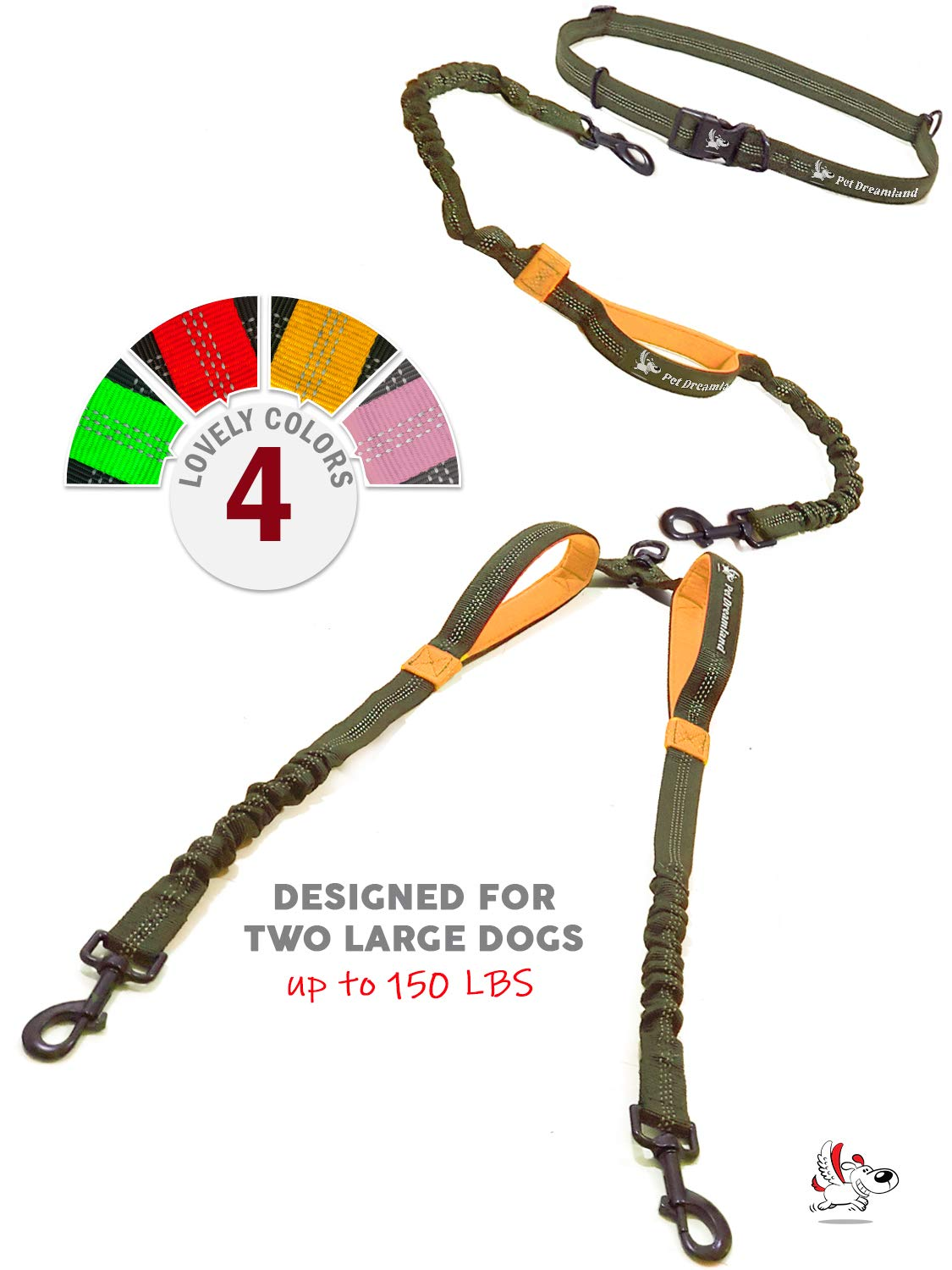 Pet Dreamland Double Leash Hands Free - Two Dogs Coupler Complete Set - No Tangle, No Pull Tandem Dual Bungee Lead (Khaki & Orange) by Pet Dreamland