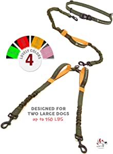 Pet Dreamland Double Dog Leash Hands Free - 2018 Two Dogs Coupler Complete Set - No Tangle 360 Splitter Swivel - for Walking 2 Dogs Medium to Large (up to 150lbs) - No Pull Tandem Dual Bungee Lead