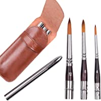 3Pcs Art Travel Painting Brush Synthetic Sable Round Hair Short Handle Brush for Acrylic Oil and Watercolor Painting