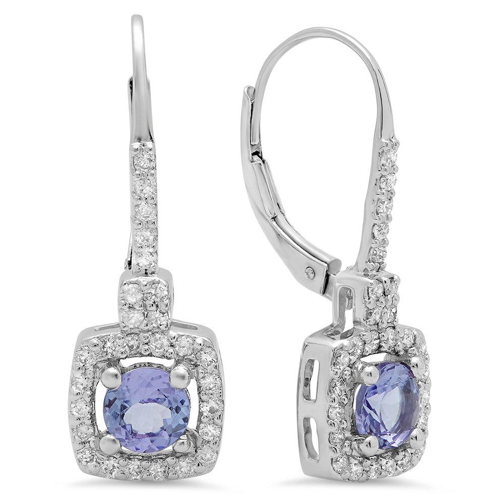 10K White Gold Round Tanzanite & White Diamond Ladies Halo Style Hoop Earrings