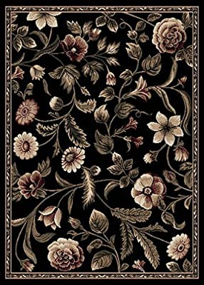 Transitional Area Rug Tropical Black Floral Leaves Vines Bordered Rug