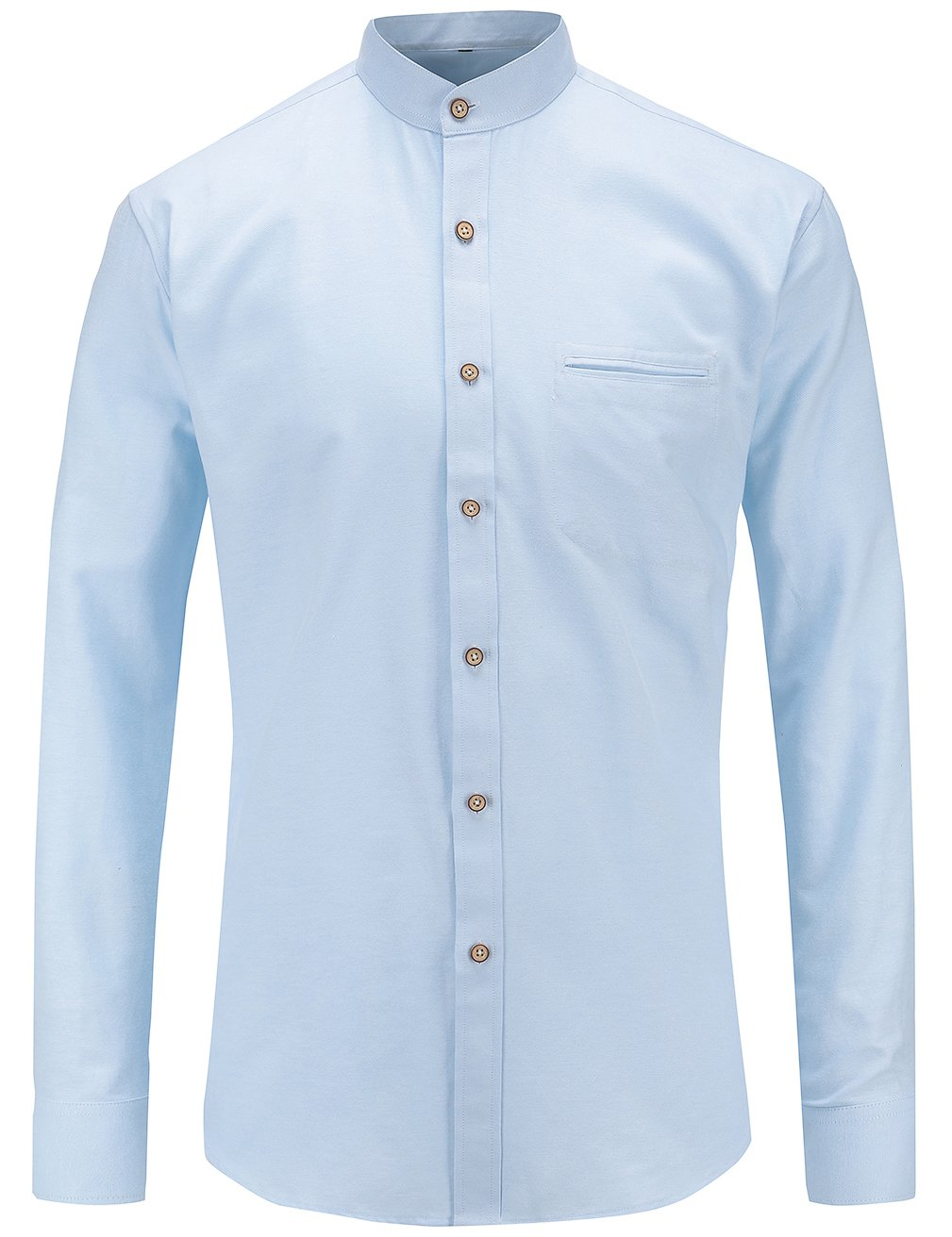 49b208f26f0 JEETOO Mens Grandad Collar Oxford Shirt Long Sleeve Solid Color