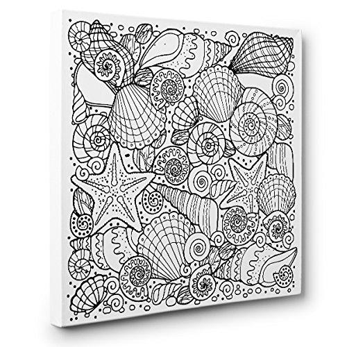 Seashells Art Therapy Coloring Canvas Home Decor