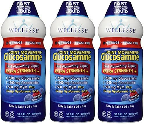 Wellesse Joint Movement Glucosamine With Chondroitin & Msm SpecialPack Pack of 3 (3000 ml Total)