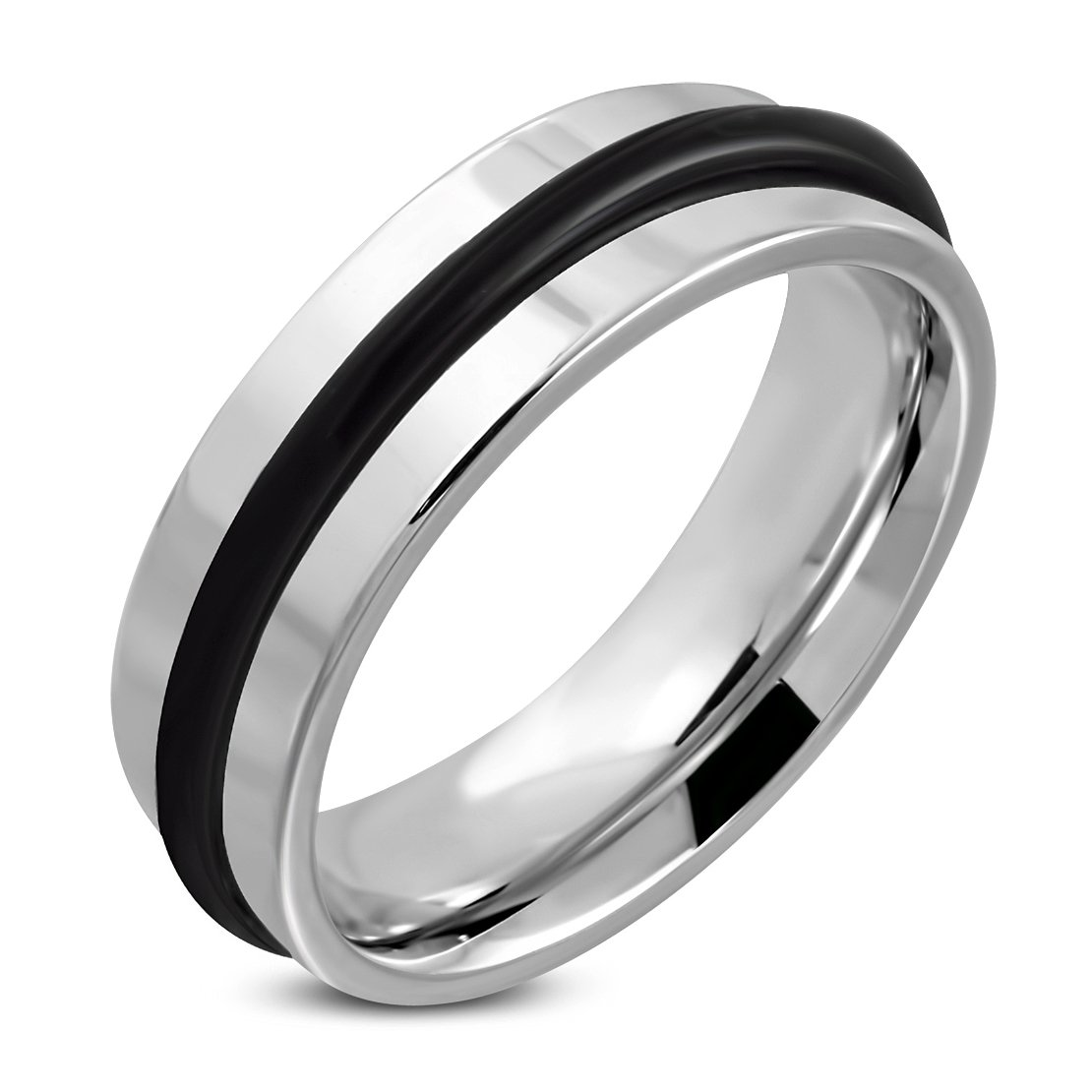 Stainless Steel Comfort Fit Half-Round Band Ring with O-Ring
