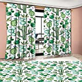 Green Blackout Window Curtain Mexican Texas Cactus Plants Spikes Cartoon Like Artistic Print Customized Curtains White Pale Pink and Lime Green