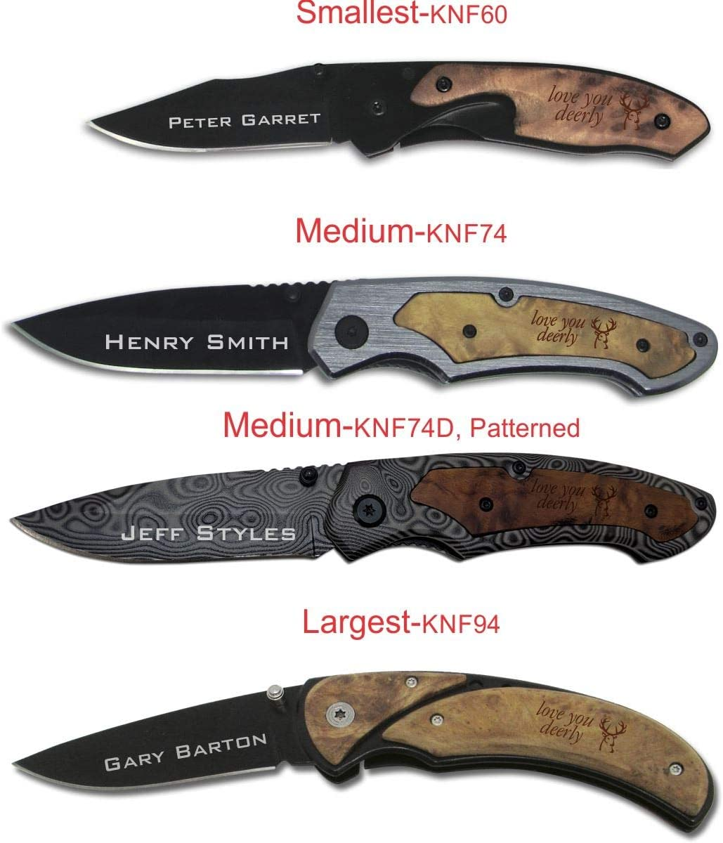 Personalized Pocket Knife With Wood Handle Laser Engraved with Buck Design Personalized Text
