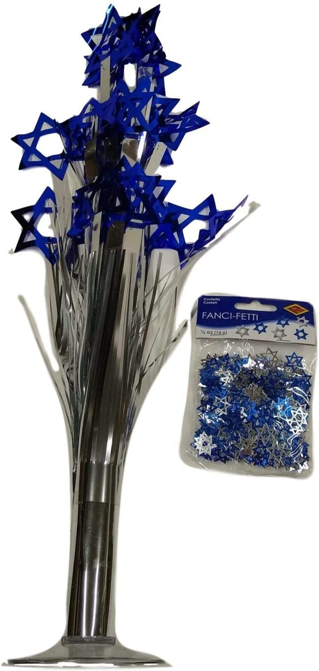 Hanukkah Table Decoration Set Blue//Silver Star of David Foil Cascade Centerpiece with Confetti