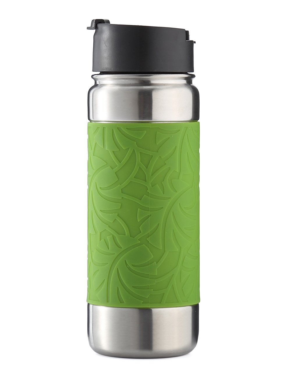 bottlebottle Vacuum Insulated Stainless Steel Water Bottle, 18oz Leak Proof Coffee Travel Mug Thermo Flask with Silicone Sleeve, Wide Mouth with BPA Free Flip Top Lid, Greenery