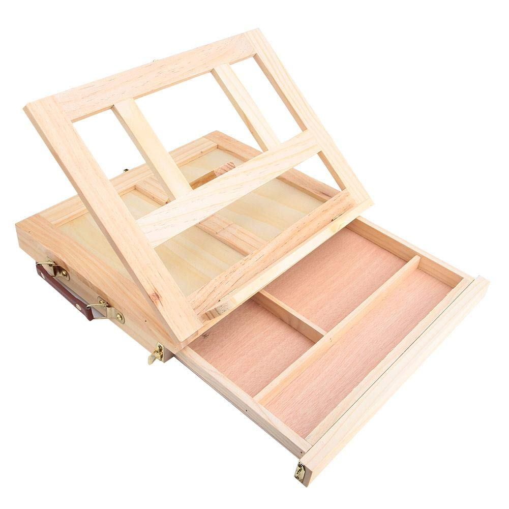 Cavalletto per Artista Pieghevole Disegno Pittura Scatola da Tavolo Portatile da Tavolo con cassetto Cavalletto Sketchbox in Legno Regolabile per scrivania Cavalletto di Legno