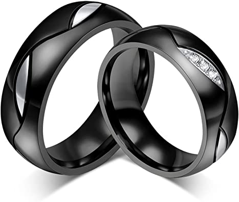 AnazoZ Alliance Homme Femme 6MM Noir Acier Inoxydable Bague de Mariage pour Deux