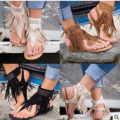 T Flip t Zip Strappy Tanga Zapatos Flops Gladiador Mujer Negro Flat Boho Verano Correa Bar Señoras Para Plana Sandalias Borla Huateng nwX0ZIUaw