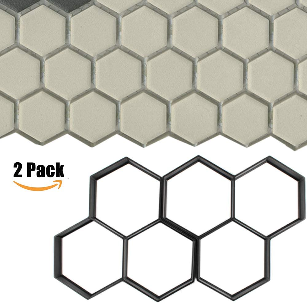 CJGQ Walk Maker Reusable Concrete Path Maker Molds 2 Pack Stepping Stone Paver Lawn Patio Yard Garden DIY Walkway Pavement Paving Moulds Honeycomb 13.9x13.9x1.58 per Mold