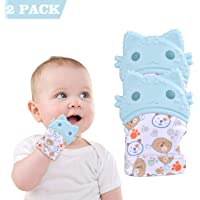 2 Pack Teething Mitten Baby Glove Teether Toys Silicone Soothing Pain Relief for Infant Boys & Girls