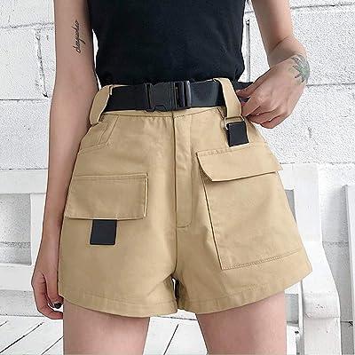 Pantalones Cortos De Mujer,Caqui Verano Mujer Shorts De Cintura Alta Moda Coreana Mini Shorts con Cinturón De Hebilla De Bolsillo Damas Casuales Shorts,M: Deportes y aire libre