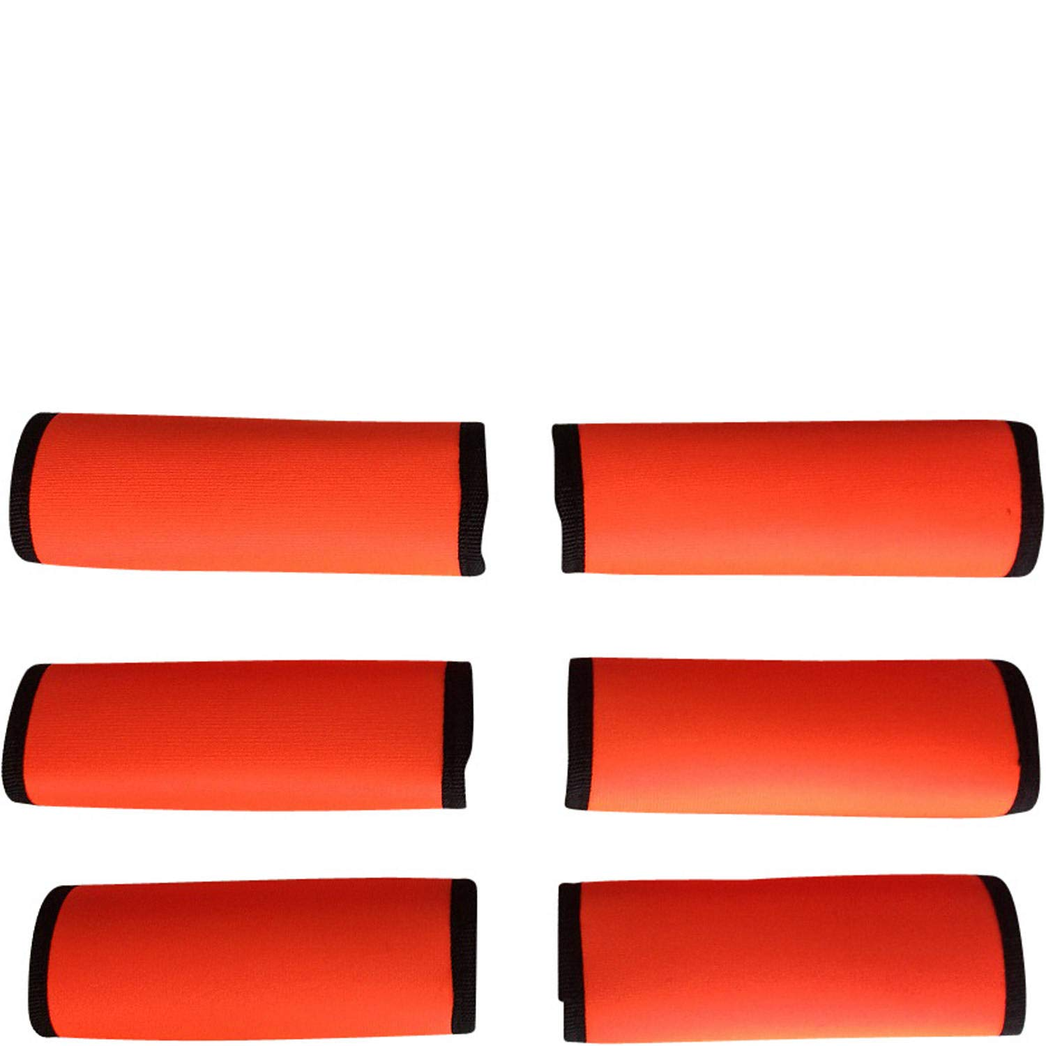 LUGGAGE SPOTTER® SUPER GRABBER - 6 PCS ORANGE Soft Comfort Neoprene Handle Wraps Grip Luggage Identifier for Travel Bags Suitcases Heavy Grocery Bags and More! by Luggage Spotter