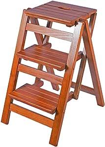 Zheng Hui Shop Taburetes Taburete, Escalera Plegable Multifuncional de Madera Maciza hogar Escalera de Tres peldaños Escalera de Mano Taburete Escalera de Escalada de Madera Escalera de Interior: Amazon.es: Hogar