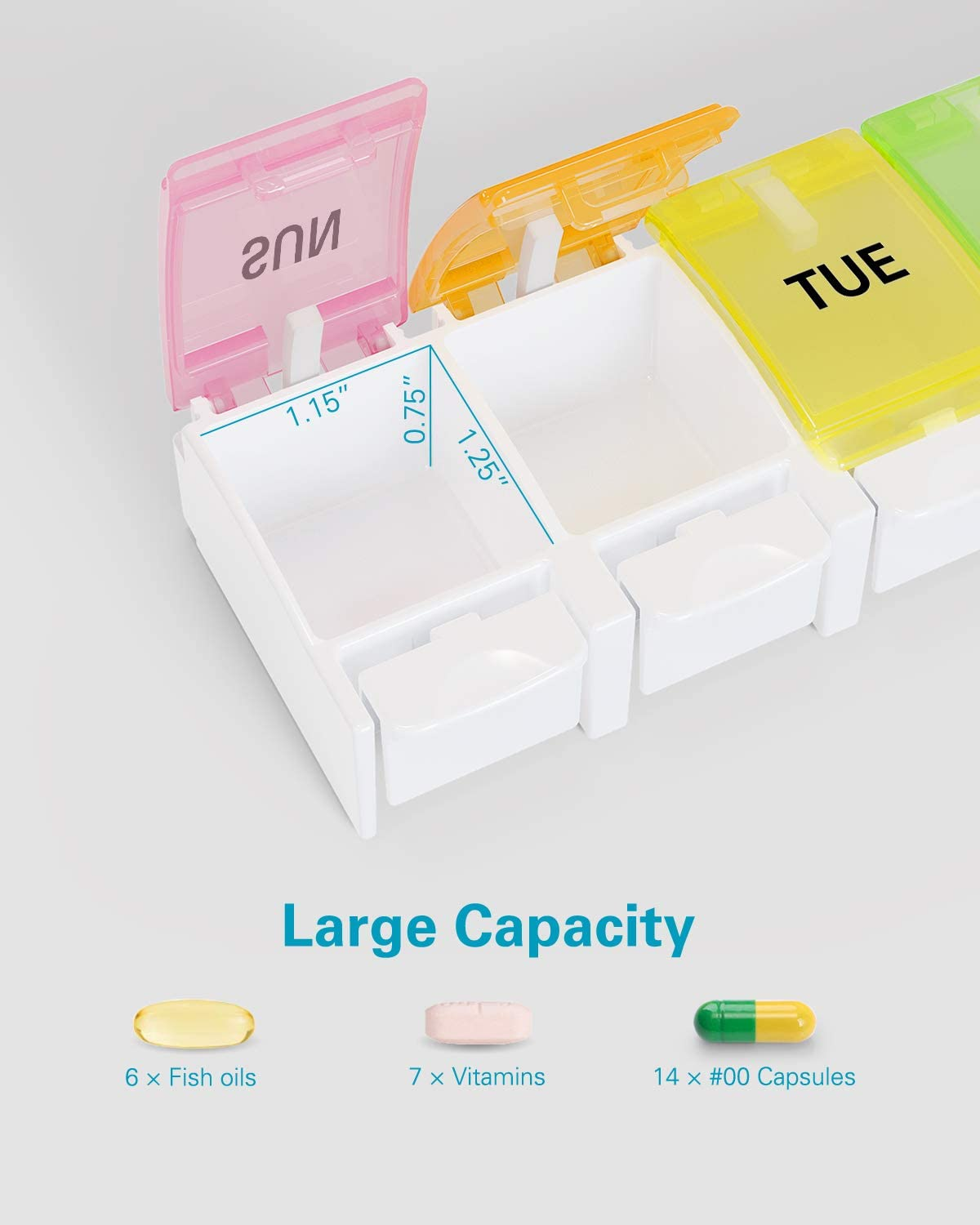 BUG HULL Pill Organizer, Easy to Open Weekly Pill Box, 7 Day Pill Case Pop Open for Vitamins, Fish Oils, Supplements: Health & Personal Care