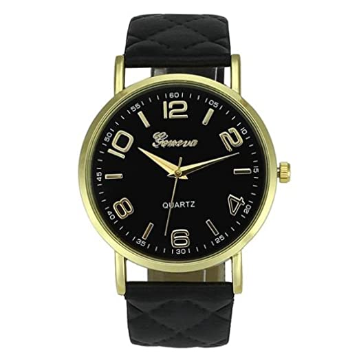 Womans Watch,Geneva Quartz Analog Bracelet Faux Leather Wristwatch Chimes Clock Axchongery (Black)