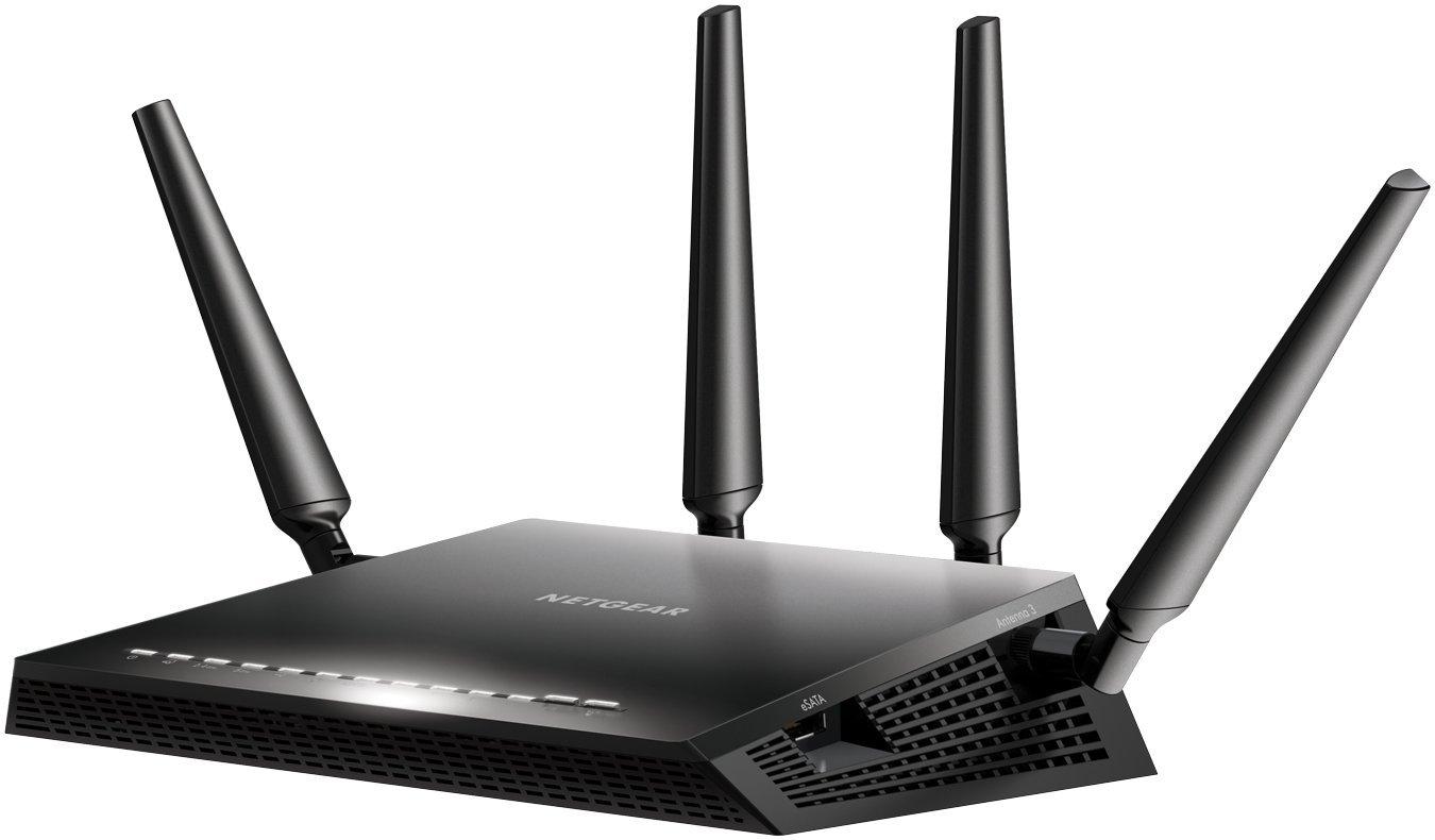 Netgear Nighthawk R7800-100PES - Router Gaming X4S con tecnología WiFi AC2600 Dual Band (2600 Mbit/s, 2 x USB 3.0, 4 puertos Ethernet Gigabit, eSATA, IPv6, Beamforming+ y compatible con Alexa)