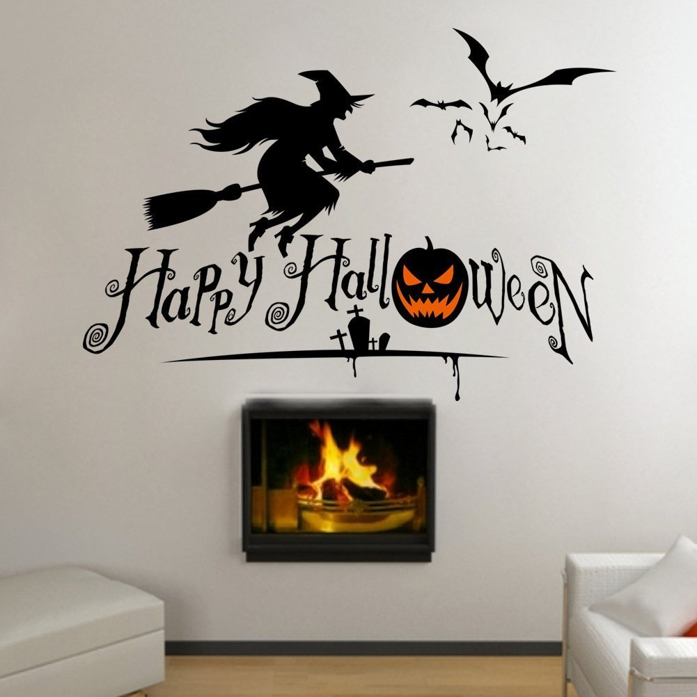 Amazon Com Mengshang Happy Halloween Witch Scary Bat Wall Sticker