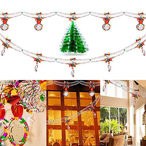 3Pcs Christmas Hanging Swirl Decoration, Happy New Year Party Decoration Christmas Ceiling Foil Garland for Xmas Winter Wonderland Holiday Wedding Party Decor Supplies