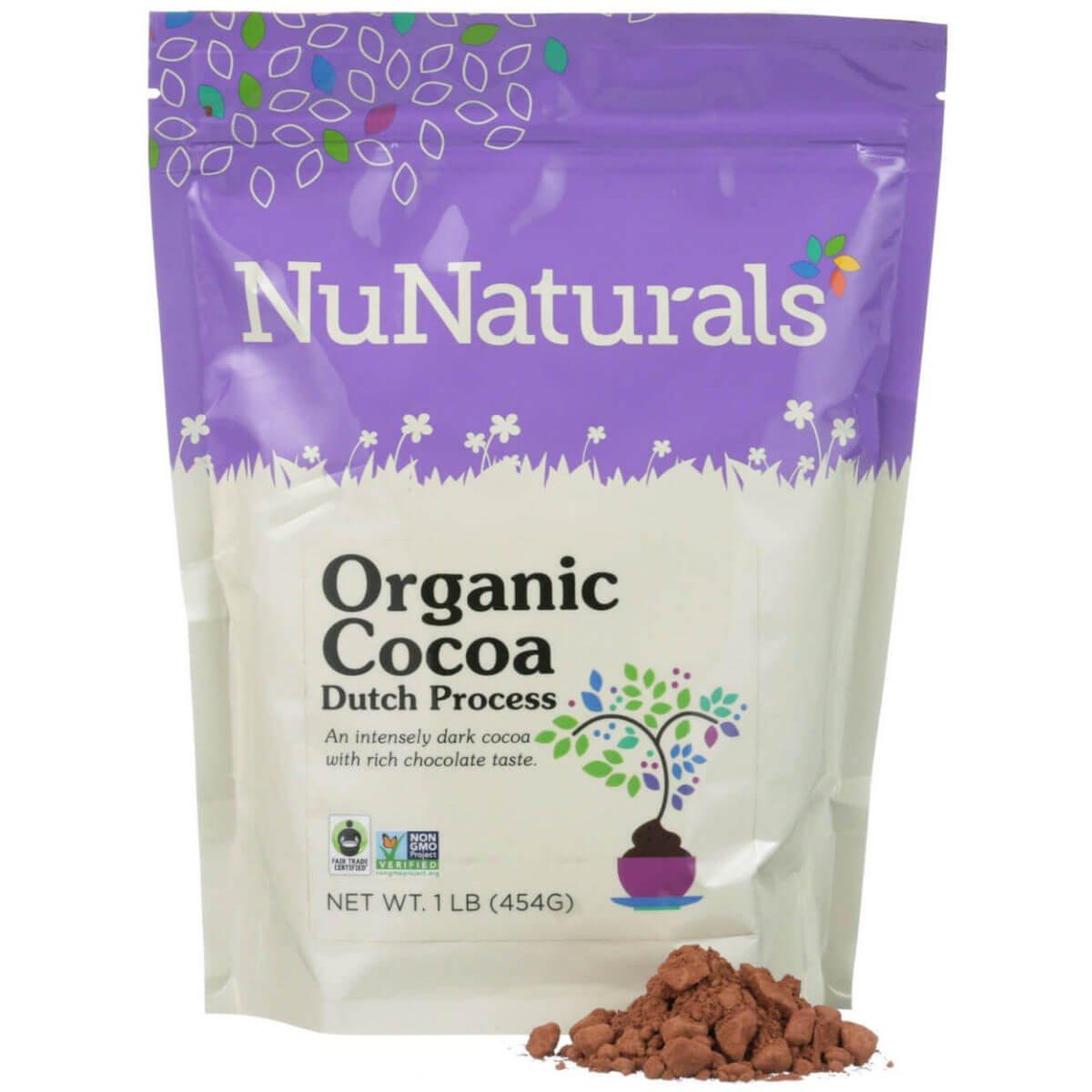 NuNaturals - Premium Organic Dutch Processed Cocoa Powder for Baking - Non GMO - Fair Trade 1lb