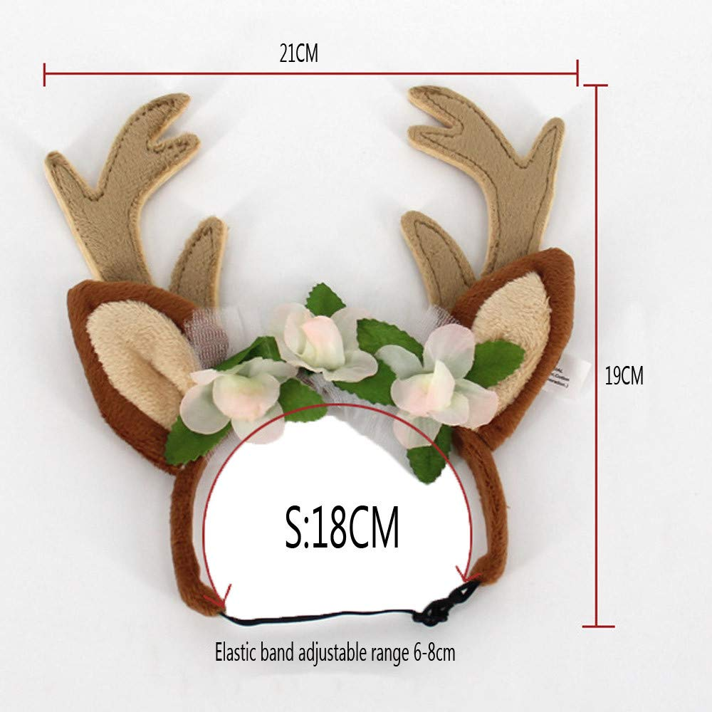 S, Brown Pet Christmas Costumes Decorations Moose Antlers Headband Dogs Cats Adjustable Hat Cosplay Party Gift Iuhan Christmas Elk Floral Hairband for Puppy Dog Kitten