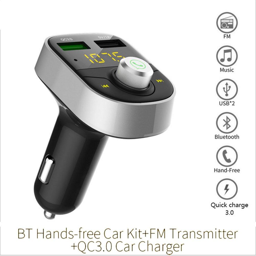 yhfxd Bluetooth FMトランスミッター車用、ワイヤレスBluetooth FMラジオアダプタカーキットハンズフリー通話と2ポートUSB充電器3 ATFカードmp3プレーヤー シルバー 135-470 B07C71PR8D  シルバー