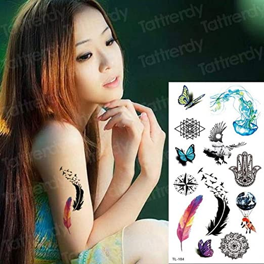 adgkitb 4pcs Sketch Flower Tattoo Tatuaje Temporal a Prueba de ...