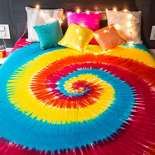 Folkulture Hippie Tapestry Wall Hanging Bohemian Hippie Mandala Bedspread Indian Bedding for Bedroom College Dorm Room Home Decor or Beach Picnic Blanket - Spiral Tie Dye Queen Size Boho Gypsy Spread]()