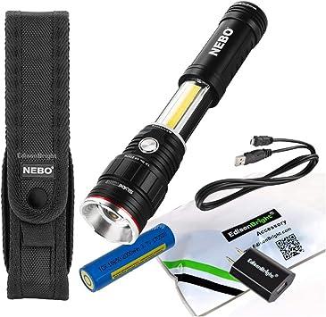 NEBO SLYDE KING 500 Lumen Rechargeable Work Light /& 4X Zoom Flashlight