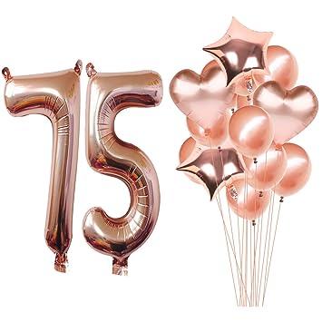 Magjuche 40 Inch Rose Gold 75th Birthday Helium Jumbo Digital Number 75 Balloons Kit Rose Gold