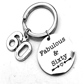 Amazon Com Stainless Steel Heart 60th Birthday Gifts Fabulus 60th Birthday Fabulus Expandable Charm Keychain Perfect 60th Birthday Gift Ideas Office Products