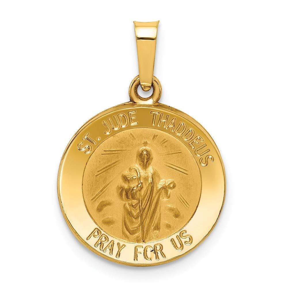 Jude Thaddeus Medal Pendant Mia Diamonds 14k Yellow Gold Polished and Satin St