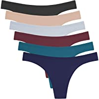 ANZERMIX Women's Breathable Cotton Thong Panties Pack of 6