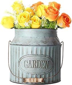 Garden Planters Garden Milk Churn Vase Vintage Shabby Chic Flower Pot Planter Table Decoration (Color : Silver, Size : One size)
