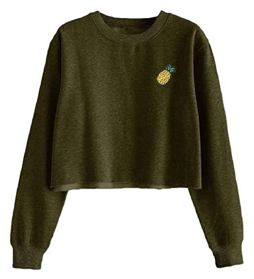 302f56a1 Abetteric Women's Velvet Coat Pineapple Autumn Short Style Pullover  Embroidered Sweatshirts Army Green S