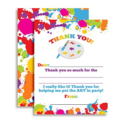 amazon com art and painting themed thank you notes for kids ten 4