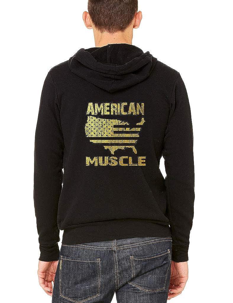 Interstate Apparel Mens Gold Foil American Muscle Map Black Fleece Zipper Hoodie Black