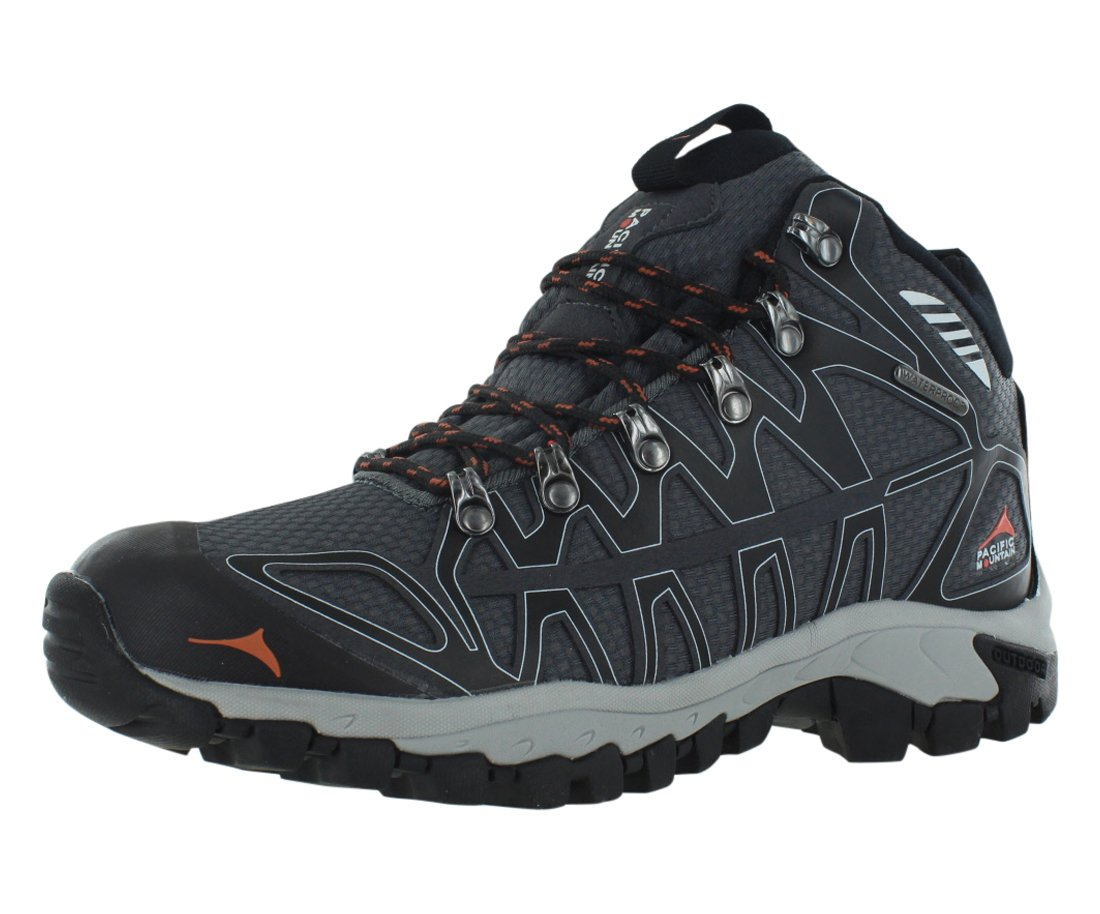 Pacific Mountain Ridge Men's Waterproof Hiking Backpacking Mid-Cut Black/Grey Boots Size 7.5