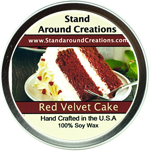 Premium 100% All Natural Soy Wax Aromatherapy Candle - 6 oz Tin Red Velvet Cake: Red Velvet Cake Fragrance is a savory and decadent blend of chocolate cake with sweet cream cheese frosting. Strong and sweet, this is sure to be your new favorite cake scent